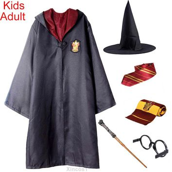 Halloween Costume for Kids Adult Gryffindor Robe Cloak Tie Scarf Wand Ravenclaw Hufflepuff Slytherin for Harris Potter Cosplay