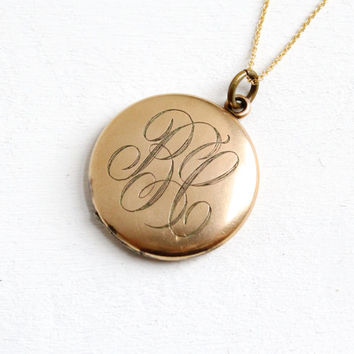 Antique Large Monogrammed Locket Necklace - 10k Gold Filled Early 1900s Edwardian Art Deco Initialed BL Jewelry Photographs