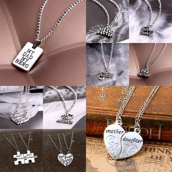 Sister Mother Daughter Dad Grandma Family Women Men Best Friends BFF Love Heart Puzzle Square Pendant Necklace Jewelry Gift