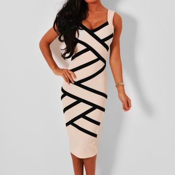 Sonora Nude V-Neck Stripe Pattern Midi Dress | Pink Boutique