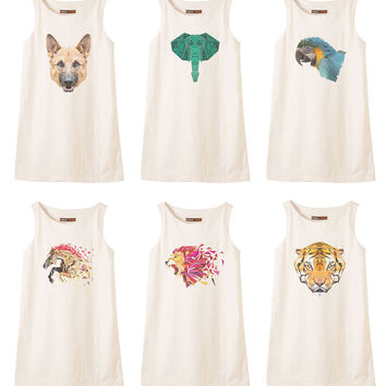 Animals in geometric pattern style Printed Vintage Linen Mini Shift Dress WDS_01