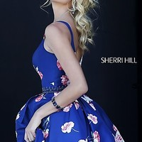Short V-Neck Print Dress by Sherri Hill