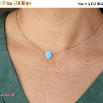 ON SALE Opal Hamsa necklace / Blue opal Necklace / Hamsa Hand Necklace / Luck Necklace / Gold Filled Choker / Gift for Mom Opal Jewelry