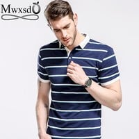 Mwxsd brand summer mens casual polo shirts short sleeve striped Polo Homme for Men Tops tees