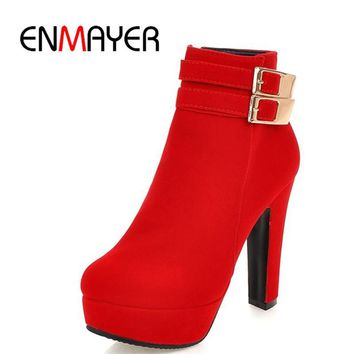 ENMAYER New Round Toe High Heels Sexy Red Shoes Woman Buckle Charms Winter Warm Ankle Boots for Women Platform Boots Shoes