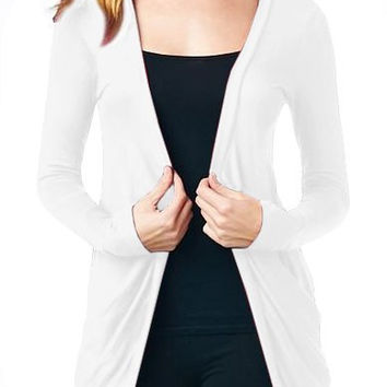 Collarless Long Sleeve Skull Pattern Cut Out Cardigan