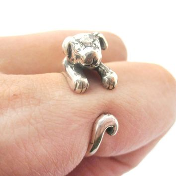Realistic Puppy Dog Shaped Animal Wrap Around Ring in 925 Sterling Silver | US Sizes 4 to 8.5
