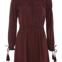 Spotted Shirred Waist Mini Dress | Topshop