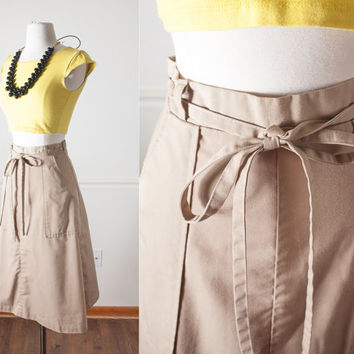 Vintage Wrap Skirt | 1970s Skirt High Waisted 70s Midi Skirt Knee Length Skirt Khaki Skirt Minimalist Classic Style Boho Chic Clothing Retro
