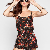 Chloe K Floral Print Womens Bar Back Romper Multi  In Sizes