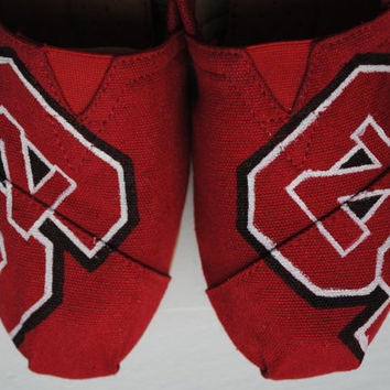 NC State Hand Painted TOMS, Custom Hand Painted Shoes