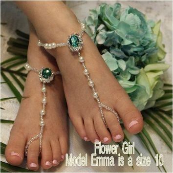 EMERALD flower girl green barefoot sandals