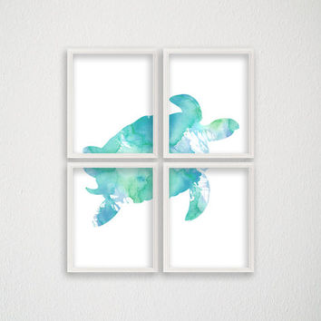 Sea Turtle Art Print, Set of 4 Prints, Nautical Home Decor, Beach Art Print, Nursery Art Print, Watercolor Turtle, Turtle Painting
