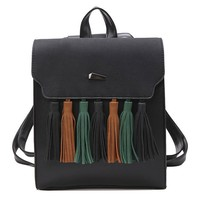 British Style PU Tassel Bag Contrast Color Flap Solid College Backpack