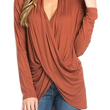 Women Long Sleeve Twisted Criss Cross Draped Top