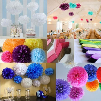 "5pcs/lot 20cm(8"") Wedding Paper Peony Flower Tissue Paper Pom Poms Wedding Party Garden Home House Decoration ZH ZH-20cm = 1932260804"