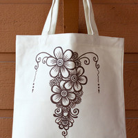 SALE - Cream Tote Bag Book Bag Beach Bag with Brown Floral Henna Design