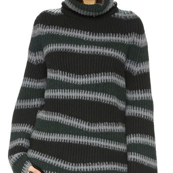 Abstract Striped Turtleneck