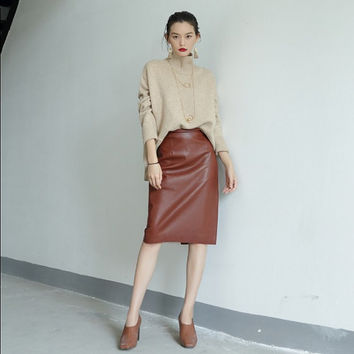 leather skirt,womens skirts,leather pencil skirt,high waisted skirt,midi skirt,leather midi skirt,elegant skirt,business skirt.--E0837