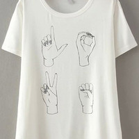 Sign Language Printed White Short Sleeve T-Shirt