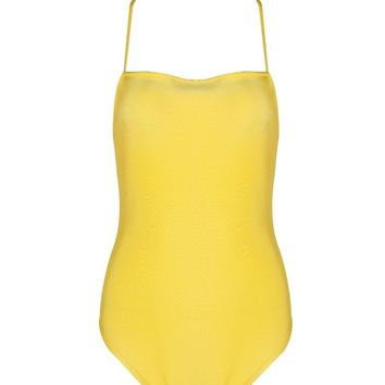 Honey Couture TAYLOR Yellow Thin Strap Bandage Bodysuit