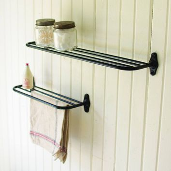 Black Metal Wall Shelves (Set of 2)