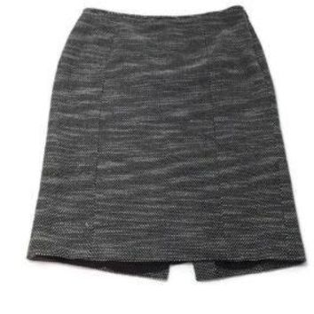 ANN TAYLOR LOFT womens Black & White Boucle Career Skirt Size 16 Lined