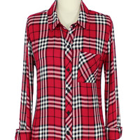Rails Hunter Button Down Shirt in Scarlett/White