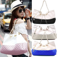 New Elegant Women Quilted Synthetic Leather Handbag Tote Shoulder Bag Purse  7_S