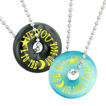 Love You to the Moon and Back Best Friends Couples Amulets Blue Simulated Cats Eye Agate Necklaces