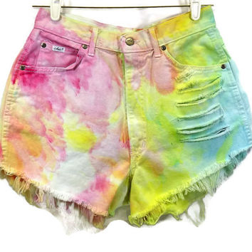 Vintage High Waisted Denim Cut Off Jean Sherbert Shorts Green Blue Pink Yellow Marbled Tye Dye Denim Slashed Frayed Holes Frayed Zip Fly
