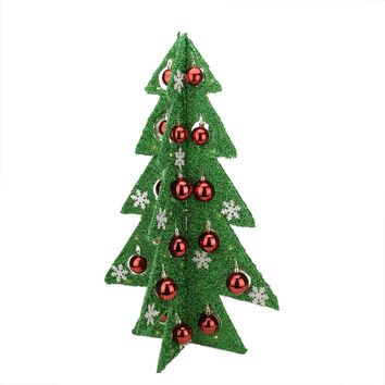 "28"" Battery Operated Decorated Green Tinsel LED Lighted Christmas Tree Table Top Decoration"