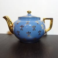 Vintage Hall China Blue 6 Cup Teapot with Gold Fleur de lis and Trim