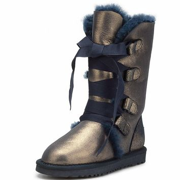 UGG Fashion Winter Warm Women Men Fur Lace-Up Snow Boots Anti-Skid High Boots Bronze Dark Blue