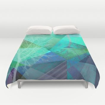 P19-C Trees and Triangles Duvet Cover by Pia Schneider [atelier COLOUR-VISION]