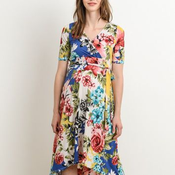 Floral High Low Maternity & Nursing Friendly Wrap Dress