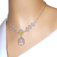 Silver tree of life with Swarovski crystal citrine bicone, silver and yellow, chainmaille European 4 in 1 charm necklace for women, bridal