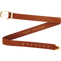 River Island Womens Brown leather round buckle belt