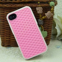 Luxury Deluxe Soft Sole Shoe Grip Silicone Case Cover Shell for Apple iPhone 4 4G 4S Pink
