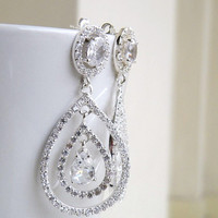 Bridal Earrings Oval and Teardrop Cubic Zirconia CZ Silver Chandelier Earrings Studs - Bianca E11 Wedding Jewelry