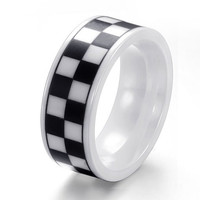 Black and White Ceramics Ring SOS