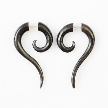 "Fake Gauge - Horn Tribal Earrings - Fake Plug Piercing Jewelry - ""Cat Tails"" Buffalo Horn Earrings - Fake Gauge Earrings - NEW DESIGN"
