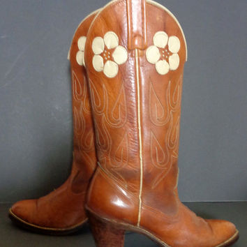 ACME Vintage Brown Leather Cowgirl Western Cowboy Boots Women's Size 7.5