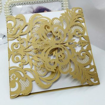 30Pcs Laser Cut Romantic Wedding Party Invitation Card Delicate Carved Flower Pattern Hollow Out Wedding Invitation Card 7zSH191