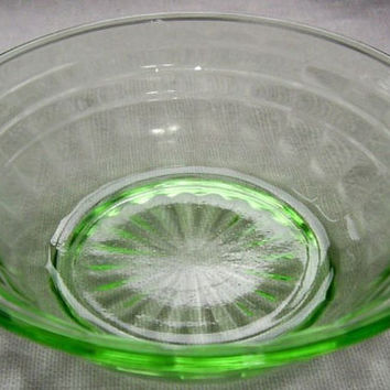 Green Depression Glass Block Optic 5 Berry Bowls - Anchor Hocking c.1930's EXCELLENT!