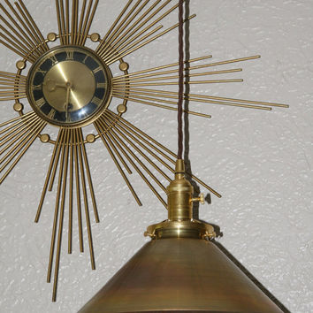 "12"" Brass Shade Hanging Pendant Light - Vintage Style Industrial Hang Lamp - Machine Age Lamp"