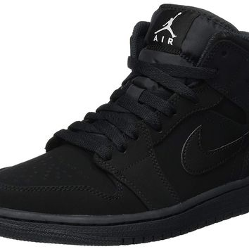 Nike Men's Air Jordan 1 Retro Mid Basketball Shoe Black/White-Black Size 10