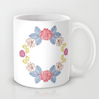 Hand Drawn Floral Wreath Design Mug by Zany Du Designs