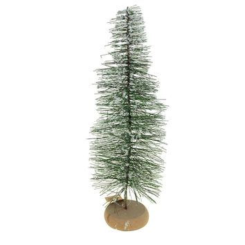Mini Green Frosted Pine Village Christmas Tree Decoration, 14-Inch