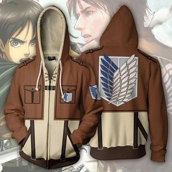 Cool Attack on Titan Anime  Scout Regiment Levi Ackerman 3D Print Hoodies Sweatshirts Cosplay Hooded Casual Coat Jacket AT_90_11